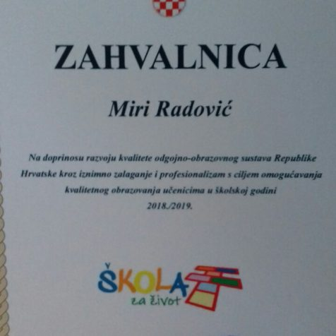 Nagrađeni učitelji mentori Mira Radović i Danijel Forjangall-1